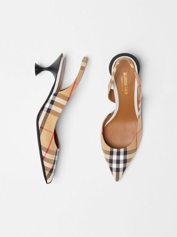 Vintage Check Slingback Pumps in Archive Beige