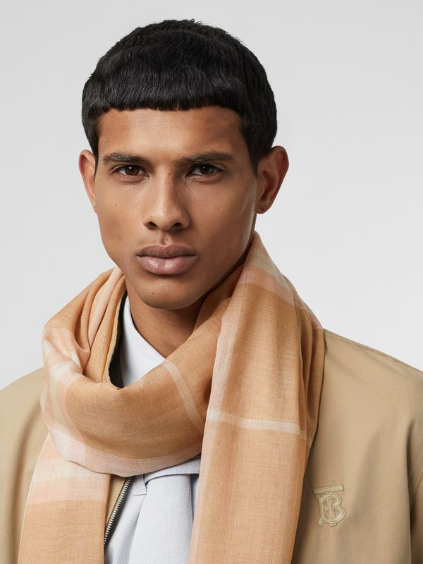 Lightweight Check Wool and Silk Scarf in Fawn | Burberry Australia - cell image 3