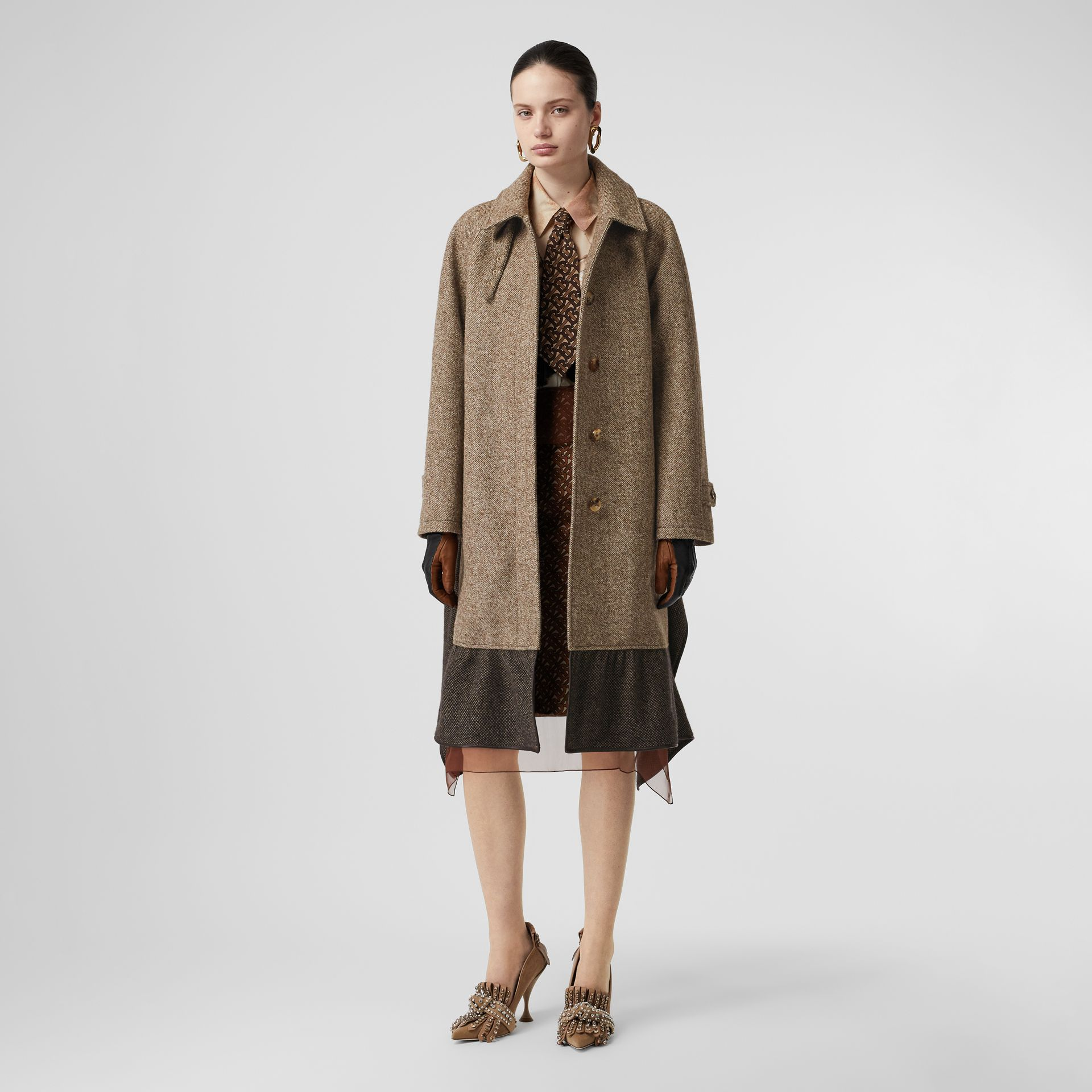 Scarf Detail Wool Mohair Tweed Car Coat in Dark Cheshnut Brown - Women | Burberry - gallery image 0