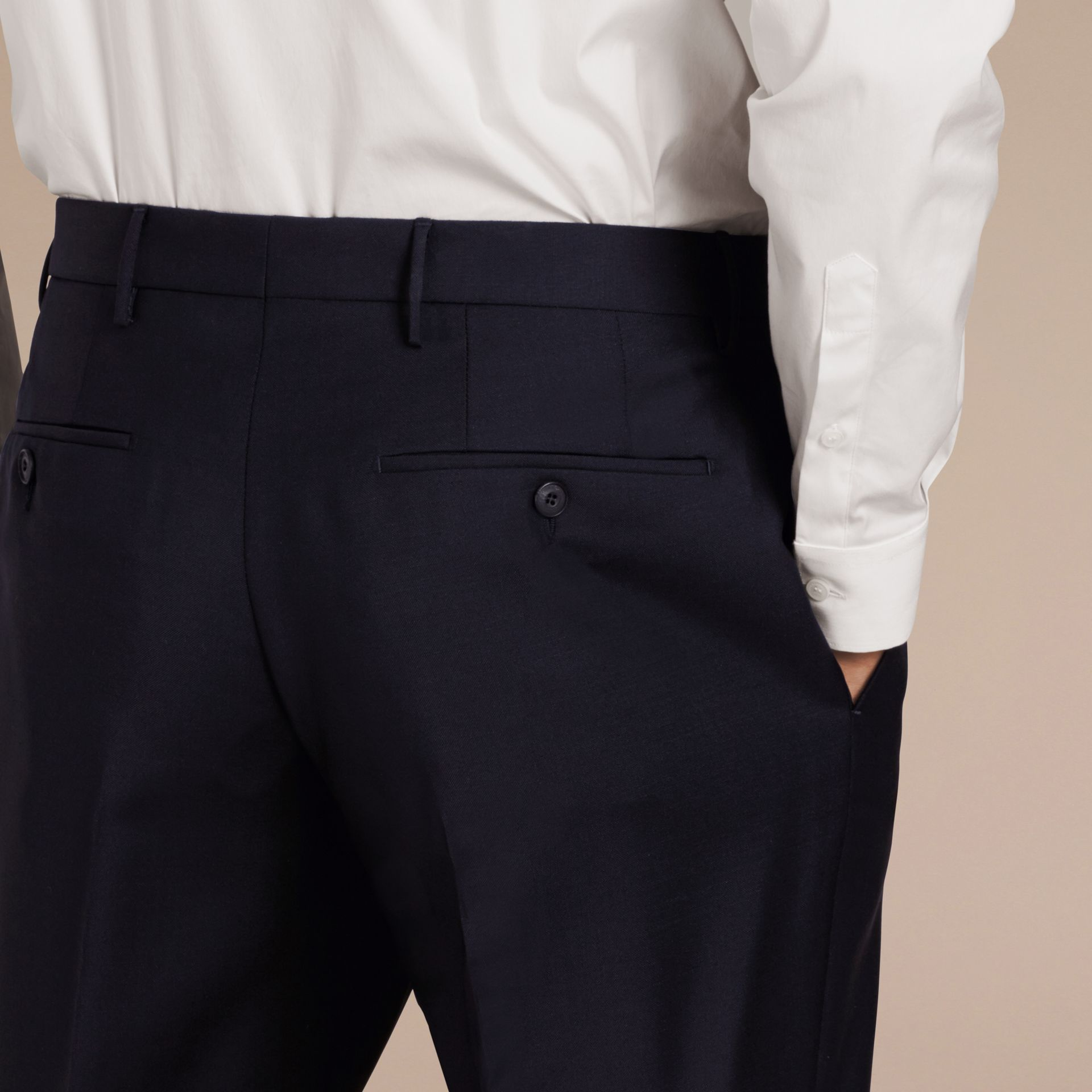 Modern Fit Wool Mohair Trousers True Navy - gallery image 4