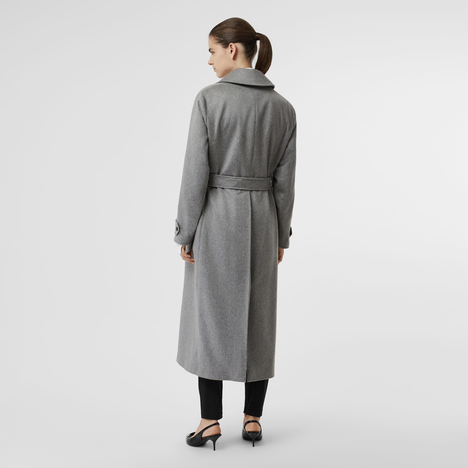 Peak Lapel Cashmere Wrap Coat in Pale Grey Melange - Women | Burberry - gallery image 2