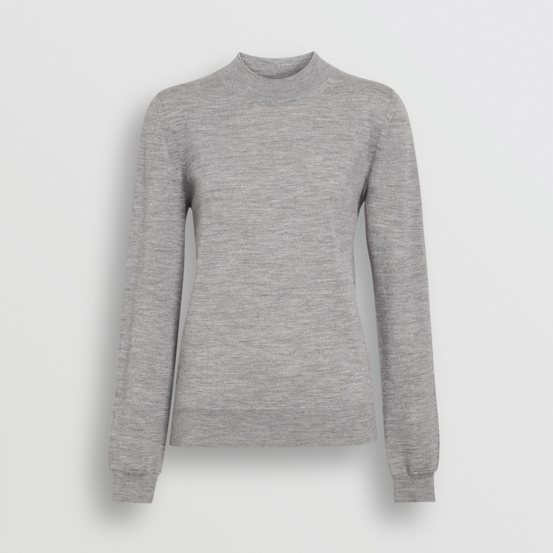 Merino Wool Crew Neck Sweater in Grey Melange - Women | Burberry - gallery image 3