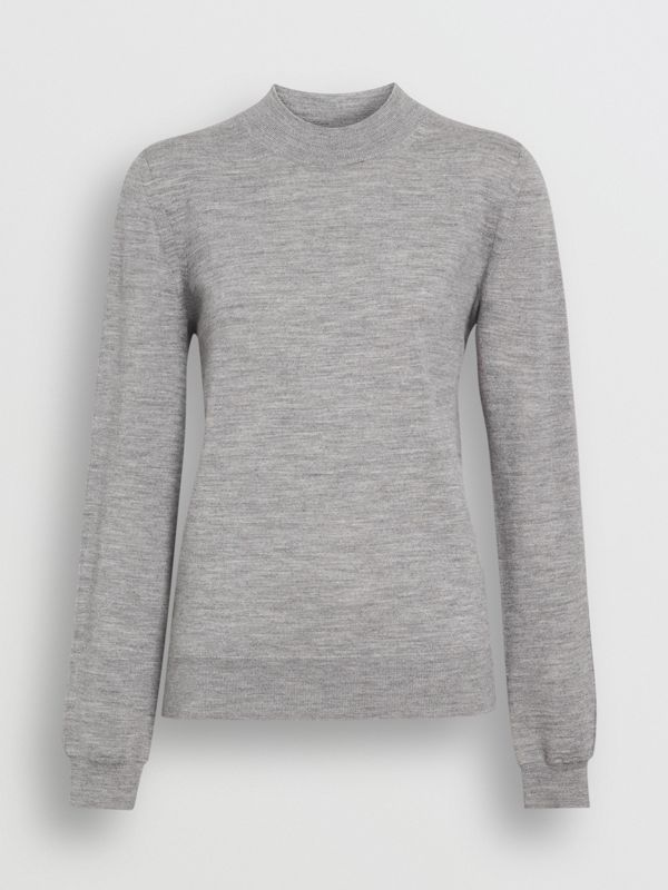Merino Wool Crew Neck Sweater in Grey Melange - Women | Burberry Australia - cell image 3