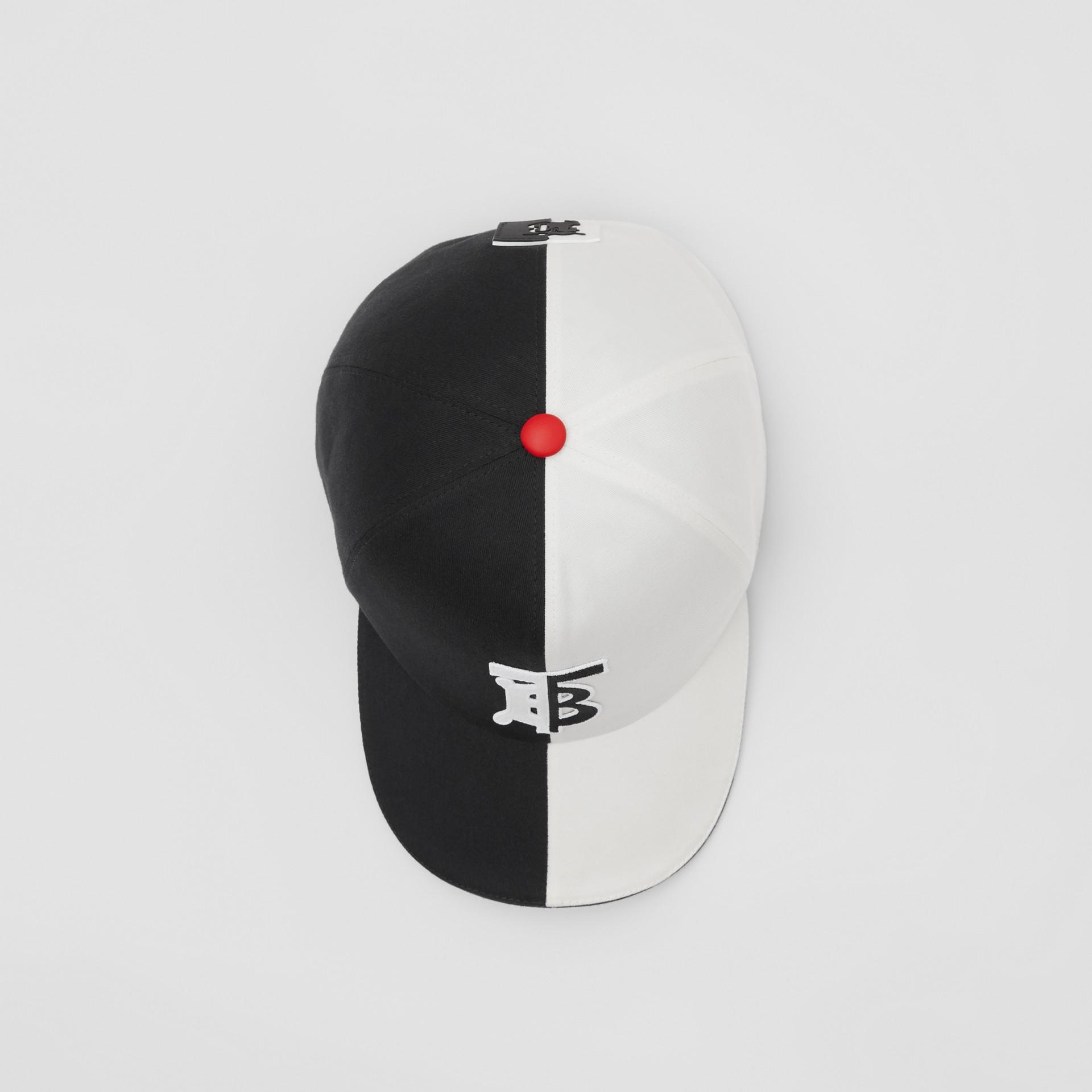 花押字圖案雙色調棉質棒球帽 (黑色/白色) | Burberry - 圖庫照片 0