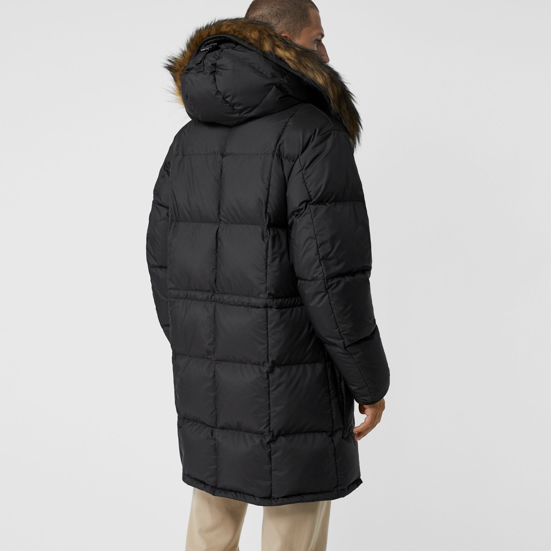 Faux Fur Trim Down-filled Hooded Parka in Black - Men | Burberry - gallery image 2