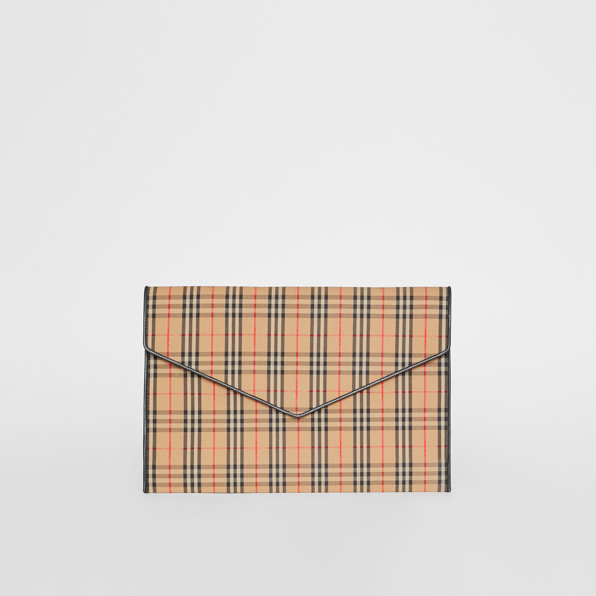 Large 1983 Check Envelope Pouch in Black - Women | Burberry - gallery image 0