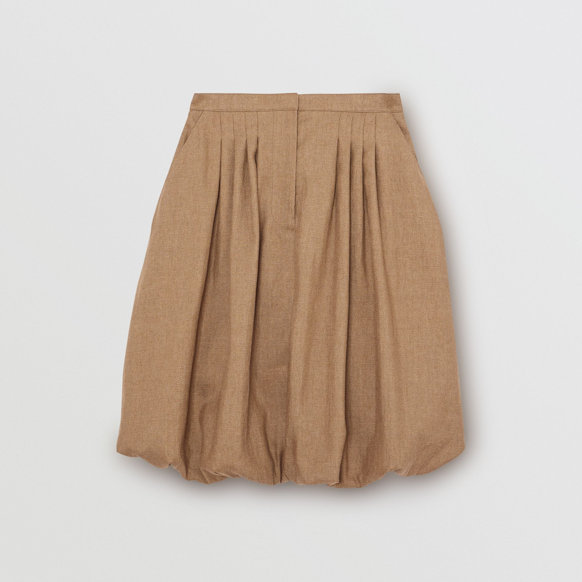 Linen Blend Bubble Hem Skirt in Driftwood - Women | Burberry - gallery image 3