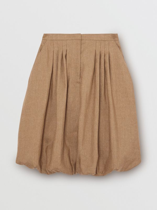 Linen Blend Bubble Hem Skirt in Driftwood - Women | Burberry Australia - cell image 3