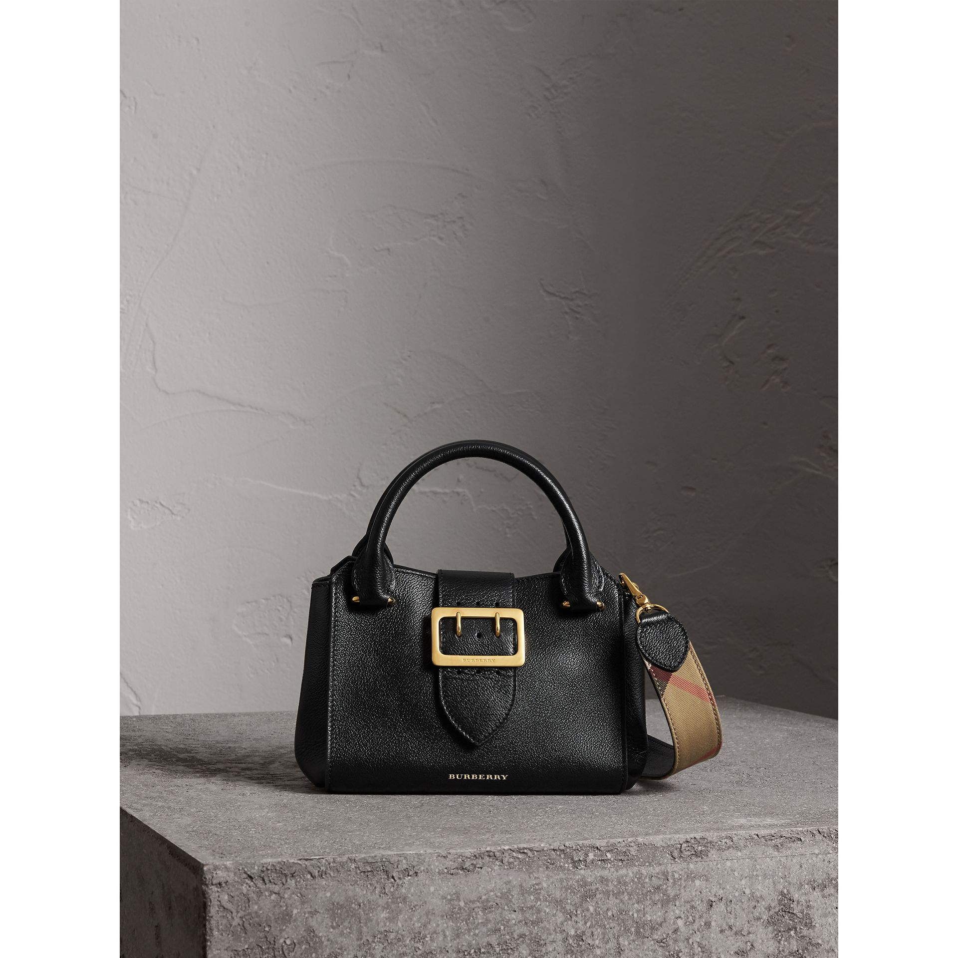 The Small Buckle Tote in Grainy Leather in Black - Women | Burberry - gallery image 1