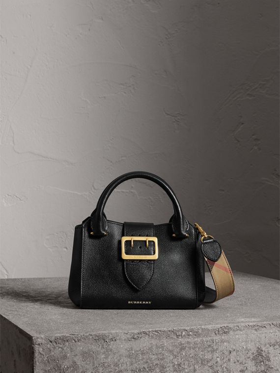 The Small Buckle Tote in Grainy Leather in Black