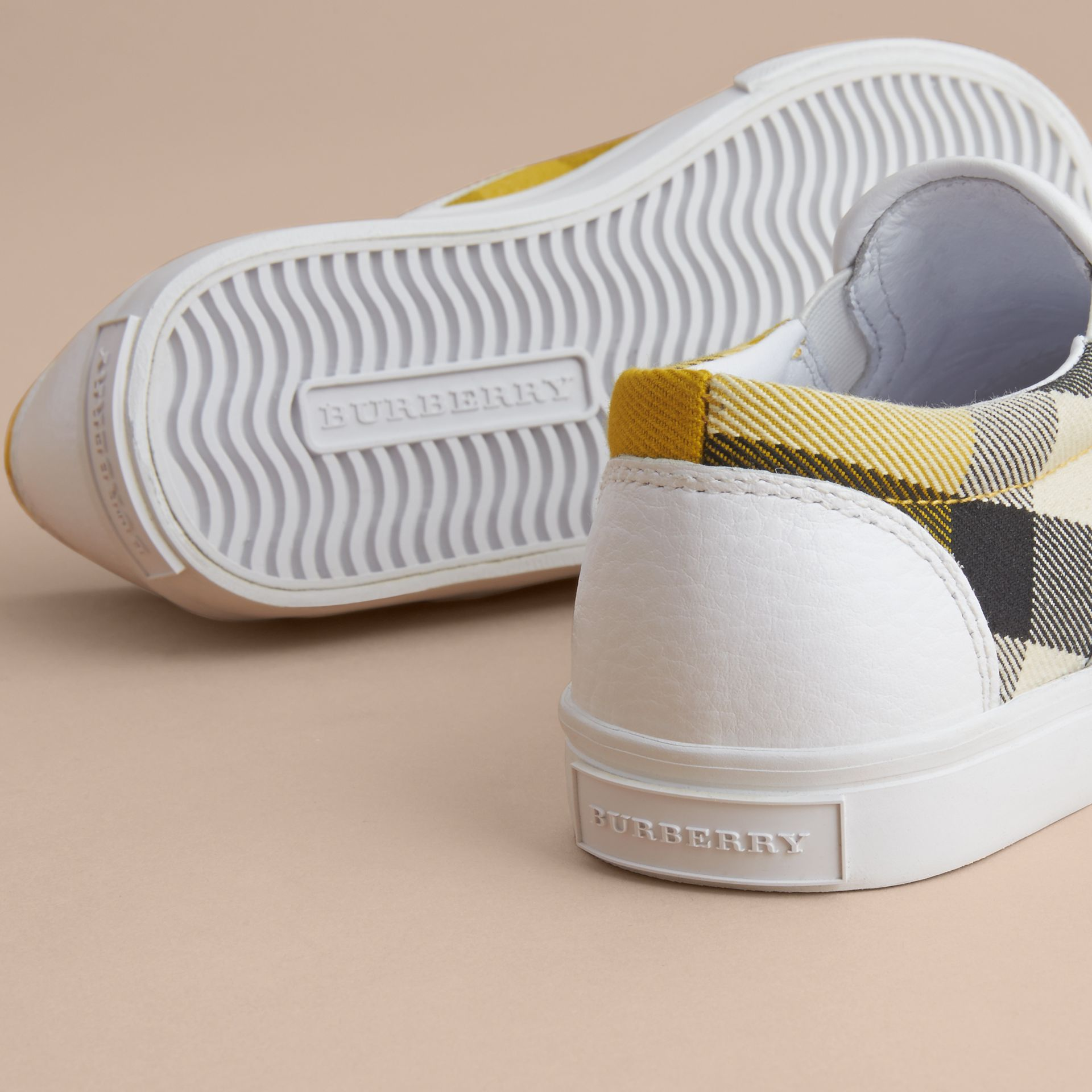 Tonal House Check and Leather Slip-on Trainers in Gorse Yellow | Burberry Canada - gallery image 2