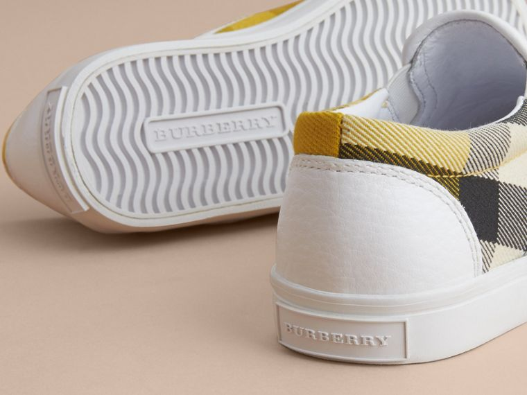 Tonal House Check and Leather Slip-on Trainers in Gorse Yellow | Burberry - cell image 1