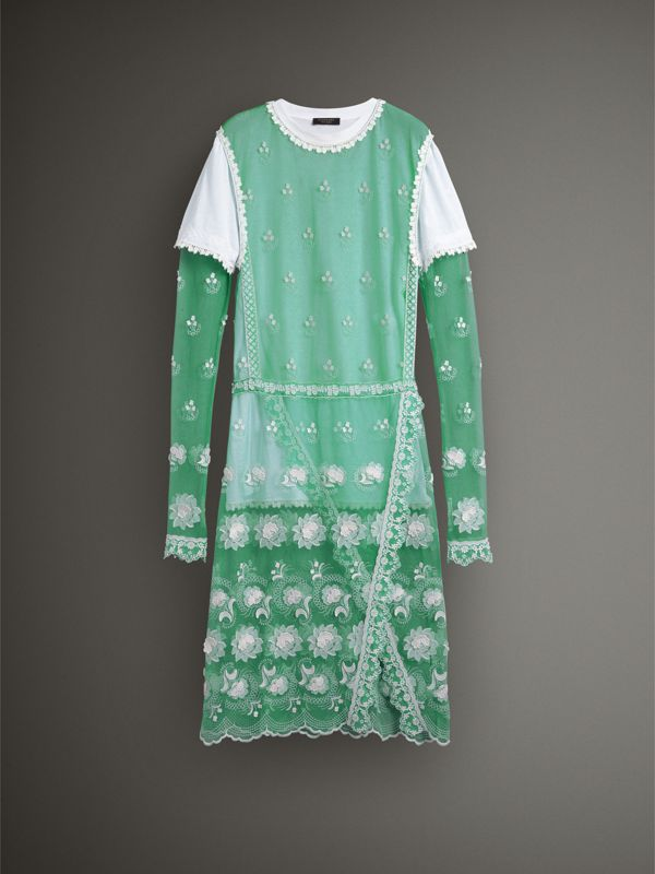 Long-sleeve Embroidered Tulle Dress in Aqua Green/white - Women | Burberry - cell image 3