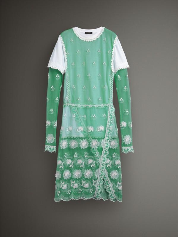 Abito in tulle ricamato a maniche lunghe (Verde Acqua/bianco) - Donna | Burberry - cell image 3