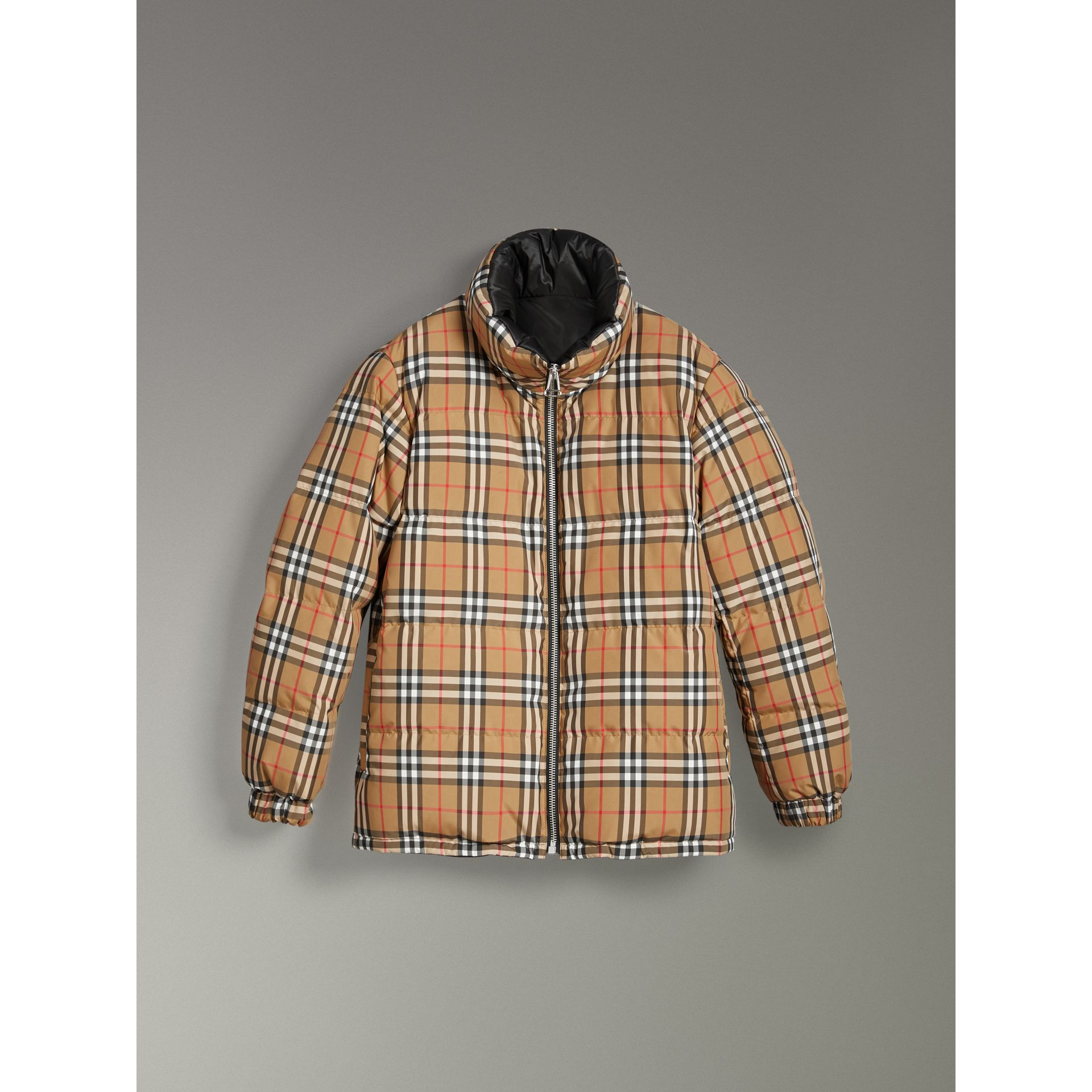 Vintage Check Reversible Puffer Jacket in Antique Yellow - Women | Burberry - gallery image 3