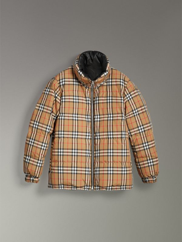 Vintage Check Reversible Puffer Jacket in Antique Yellow - Women | Burberry Hong Kong - cell image 3