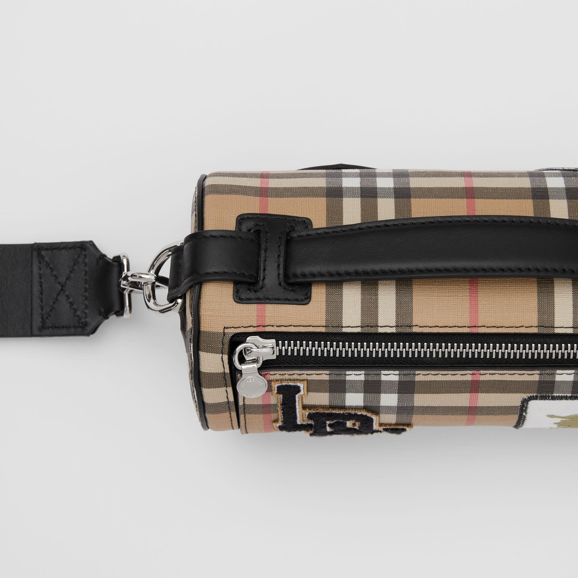 The Vintage Check E-canvas and Leather Barrel Bag in Archive Beige - Women | Burberry United States - gallery image 1