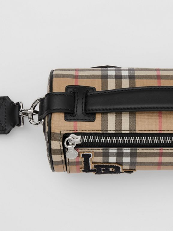 The Vintage Check E-canvas and Leather Barrel Bag in Archive Beige - Women | Burberry United States - cell image 1
