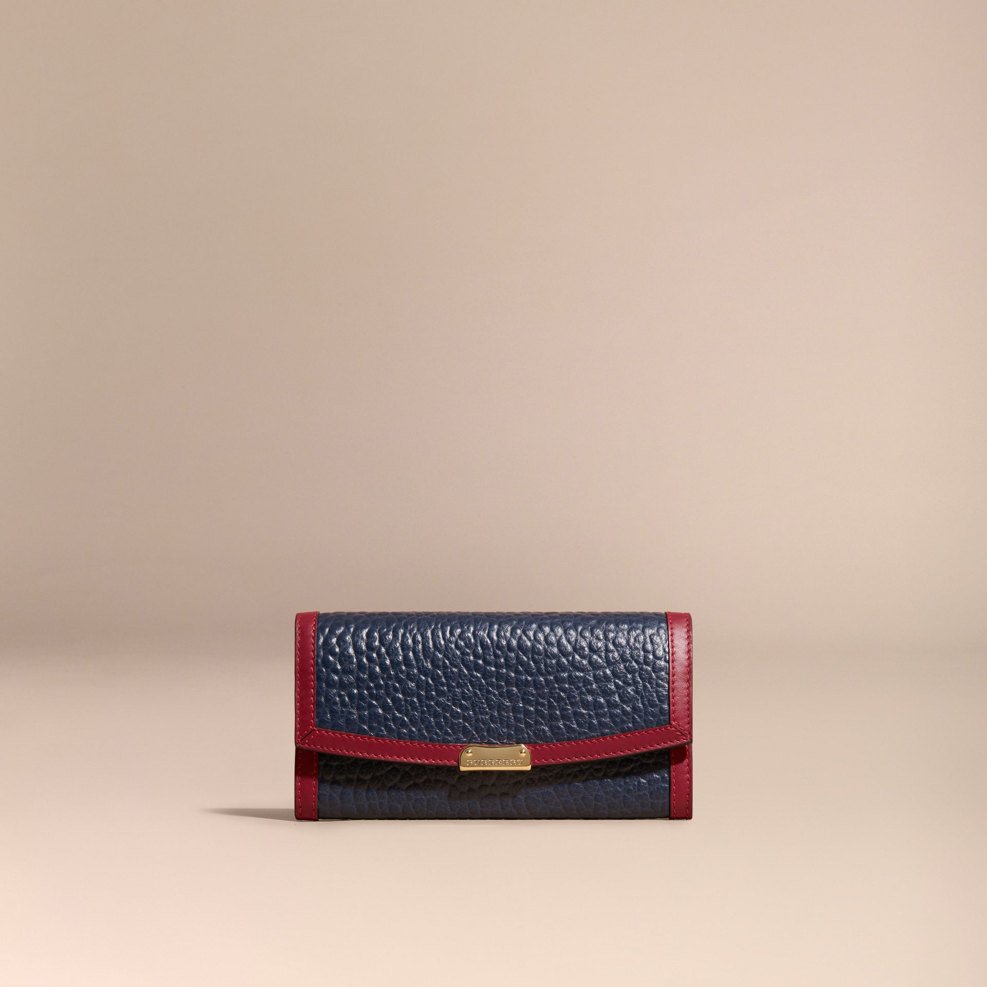 Blue crbn/parade red Border Detail Signature Grain Leather Continental Wallet - gallery image 6
