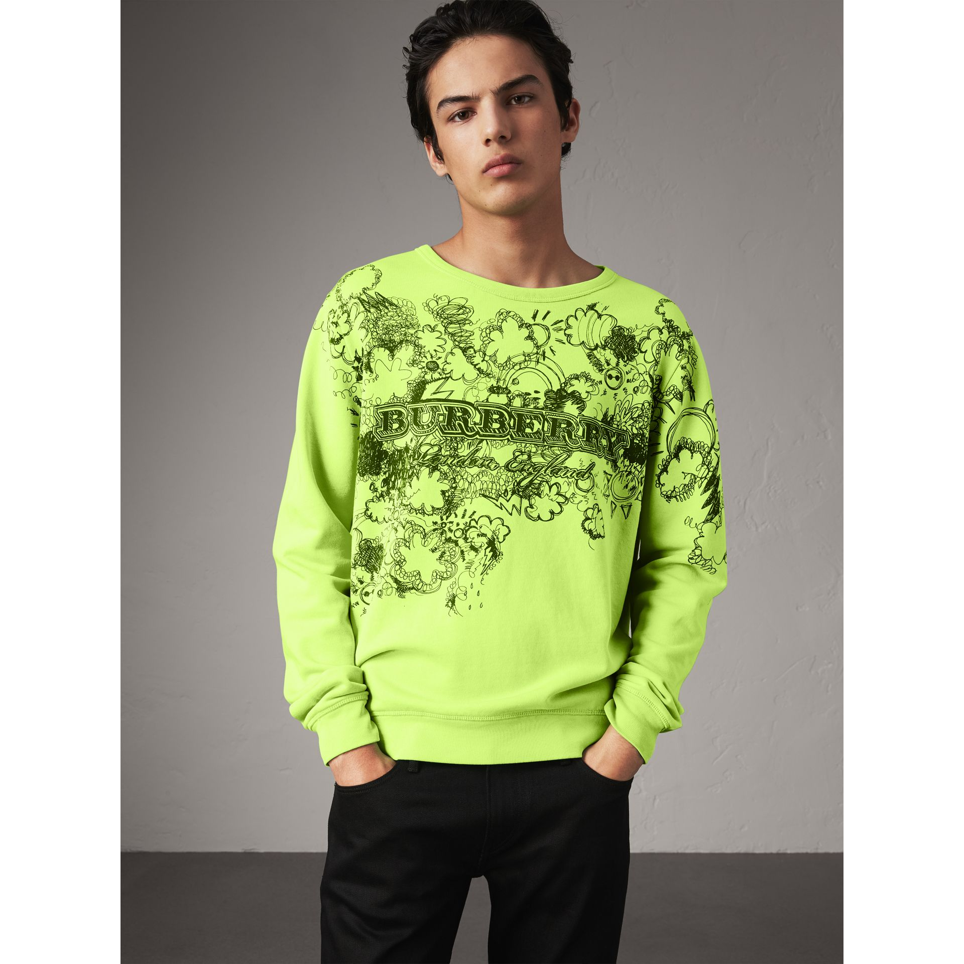 Sweat-shirt en coton avec imprimé Doodle (Citron Vif) - Homme | Burberry - photo de la galerie 0
