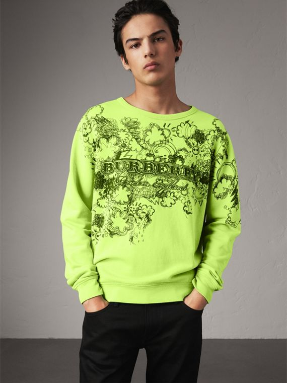 Doodle Print Cotton Sweatshirt in Bright Lemon