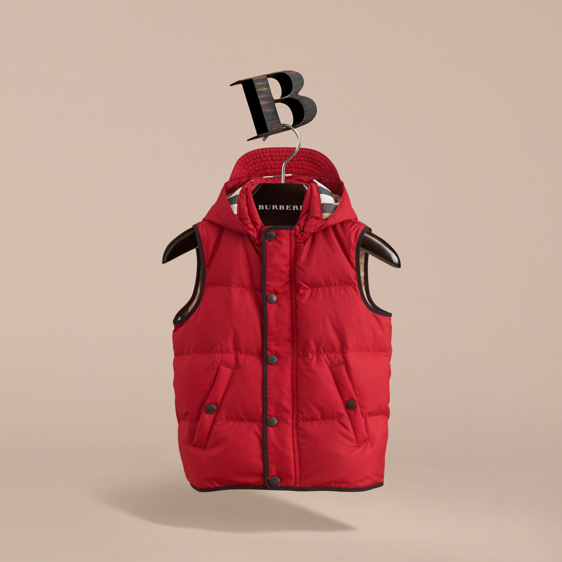 Down-filled Hooded Gilet in Parade Red - Boy | Burberry - gallery image 3