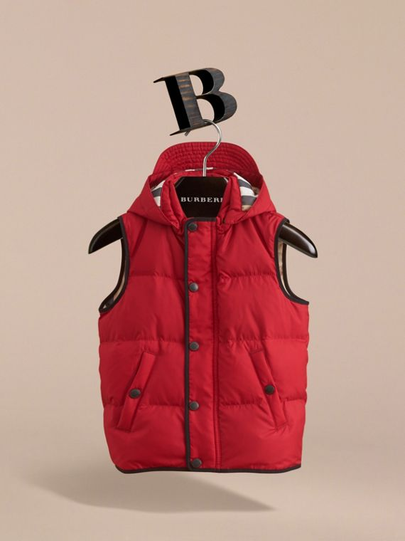 Down-filled Hooded Gilet in Parade Red - Boy | Burberry - cell image 2