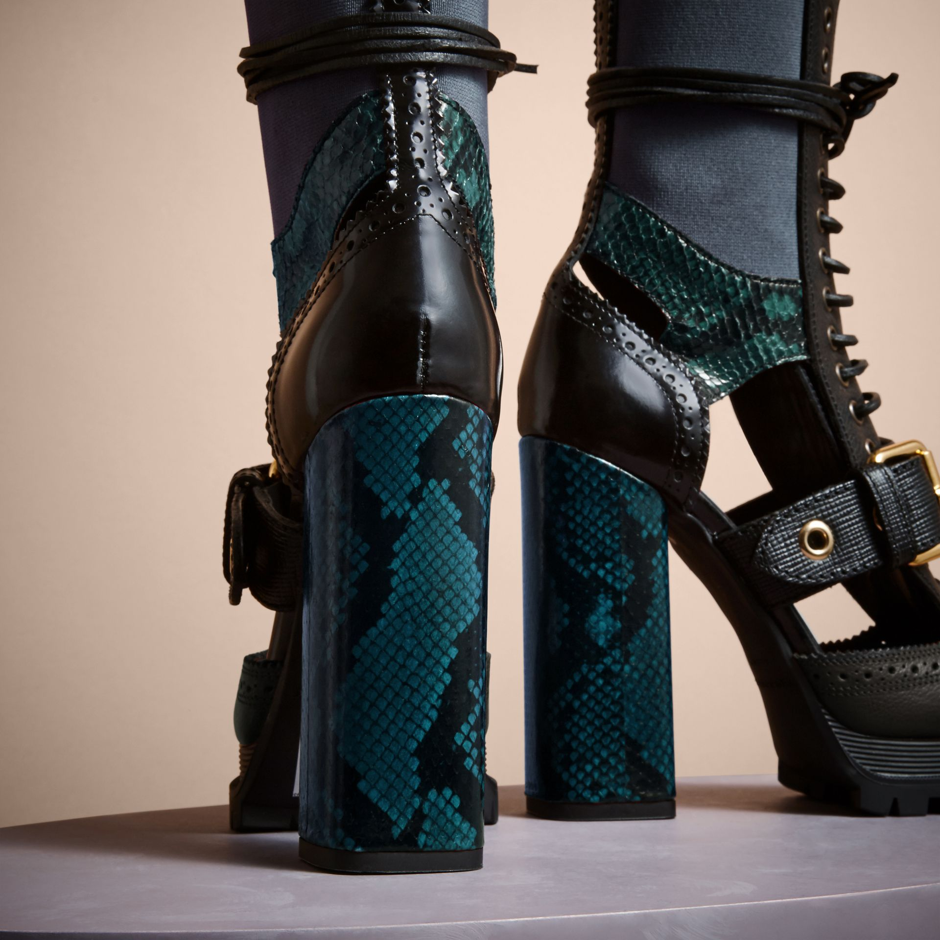 Leather and Snakeskin Cut-out Platform Boots Teal Green - gallery image 4