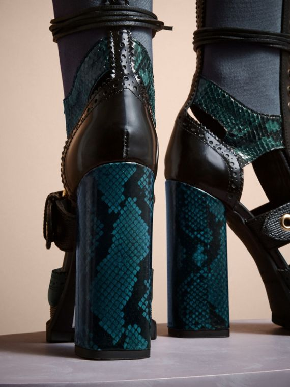 Leather and Snakeskin Cut-out Platform Boots Teal Green - cell image 3