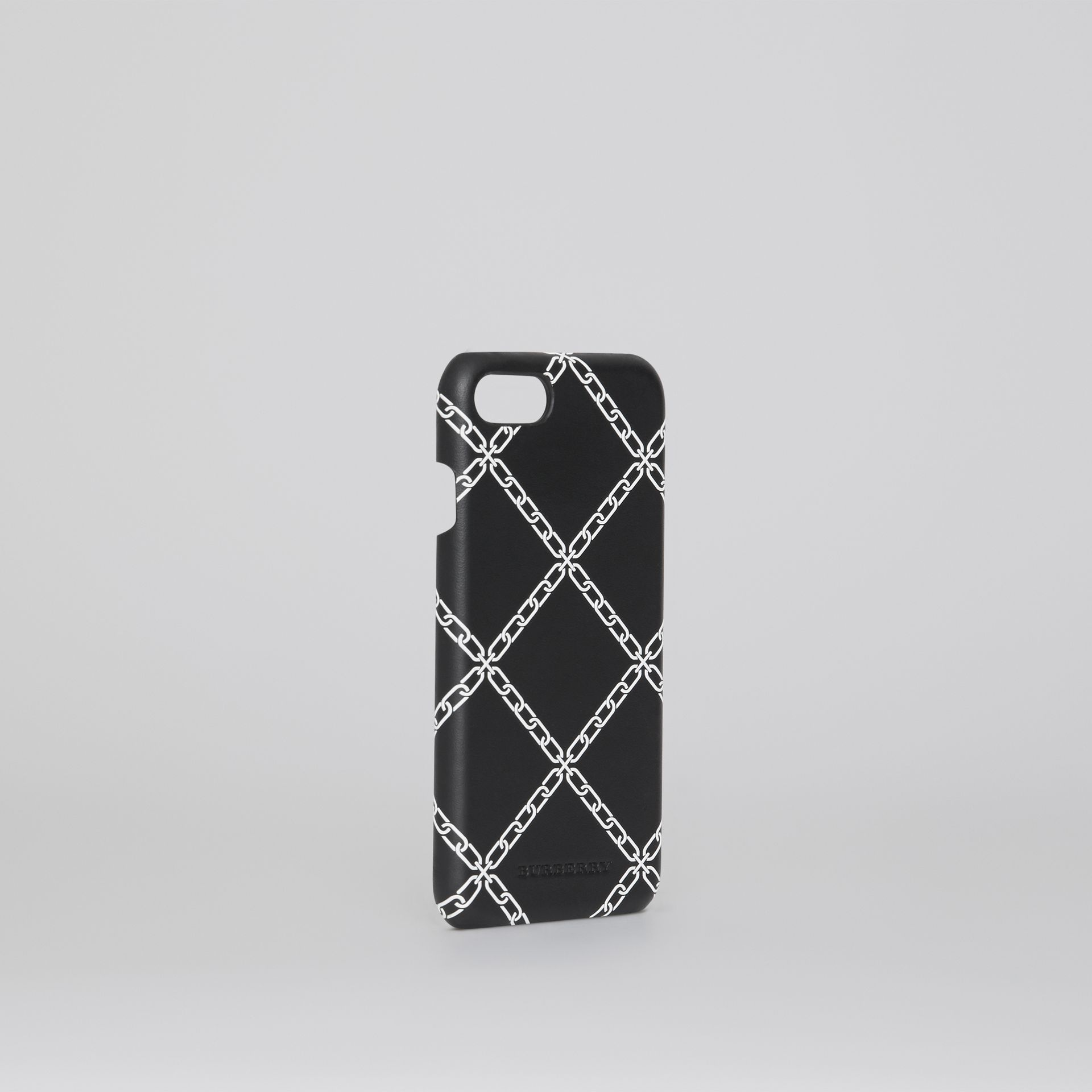 Link Print Leather iPhone 8 Case in Black | Burberry - gallery image 3
