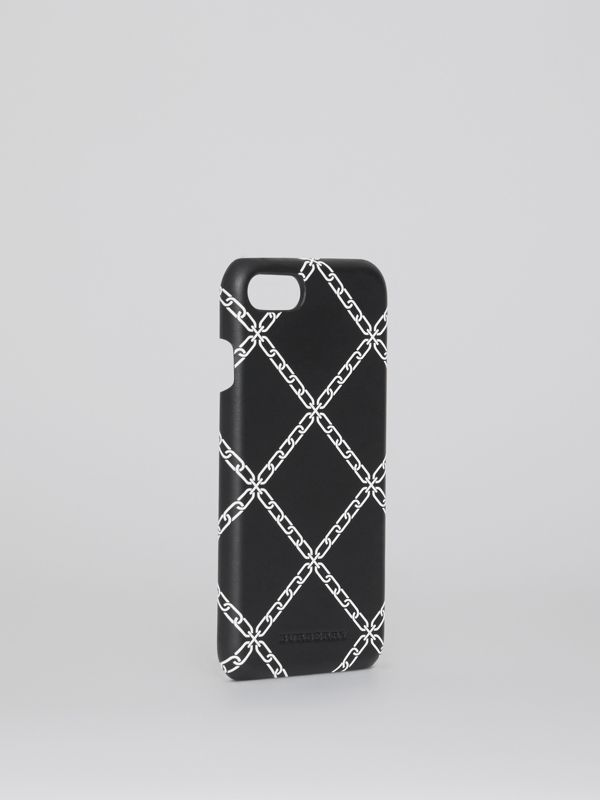 Link Print Leather iPhone 8 Case in Black | Burberry - cell image 3