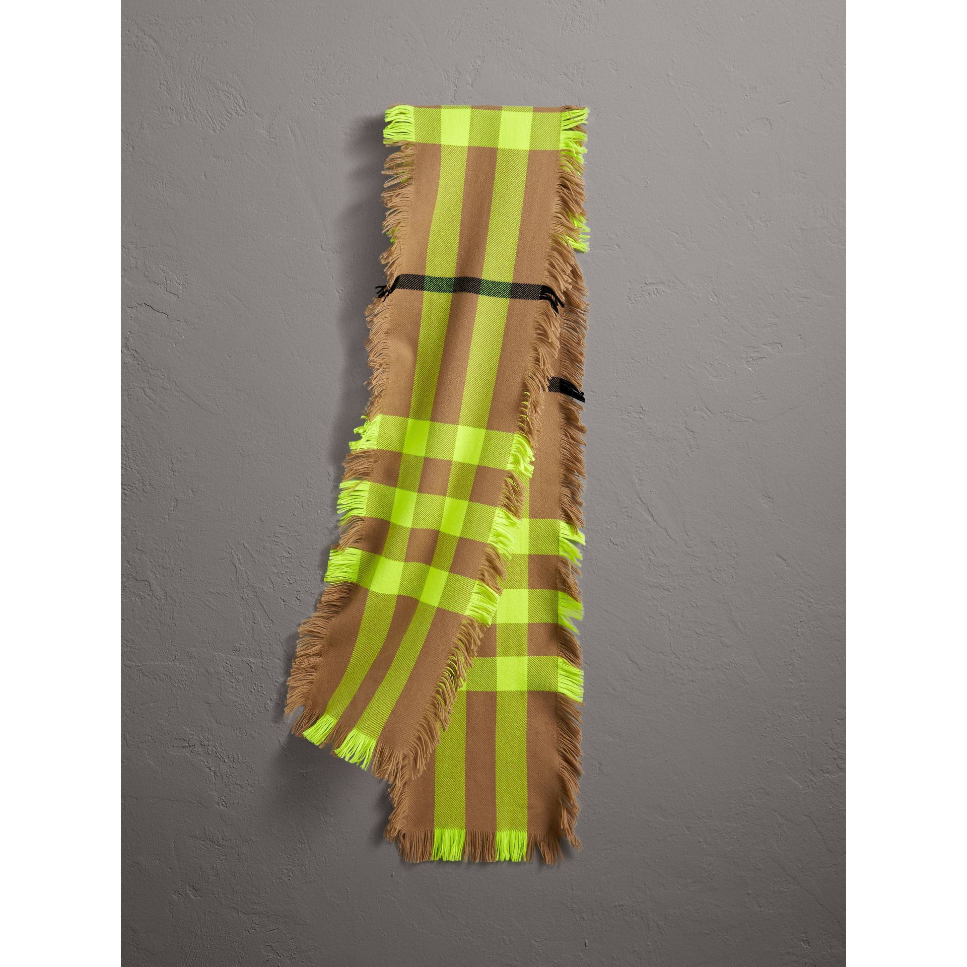 Fringed Check Wool Scarf in Neon Yellow | Burberry - gallery image 0