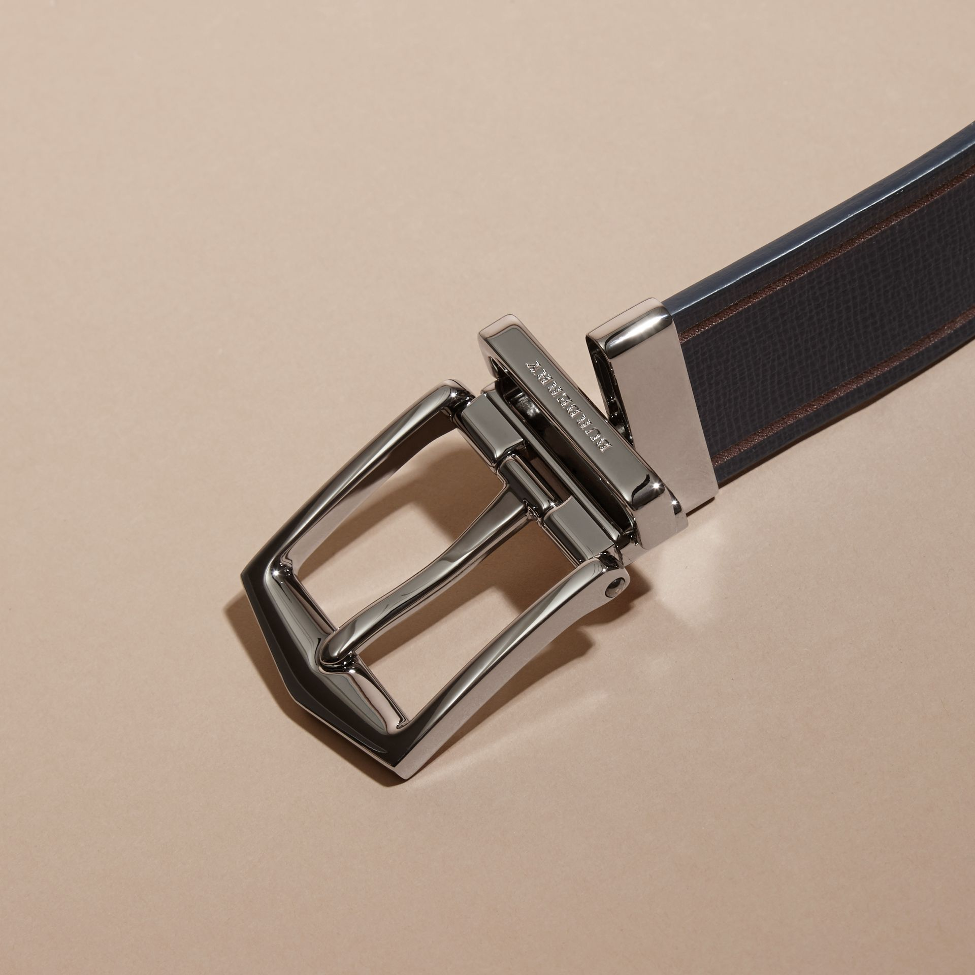 Reversible Border Detail London Leather Belt Dark Navy/black - gallery image 4
