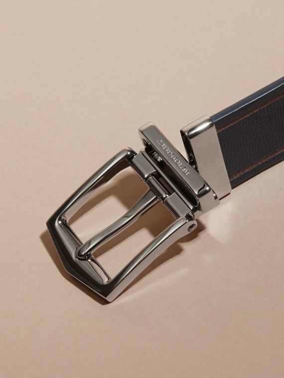 Reversible Border Detail London Leather Belt Dark Navy/black - cell image 3