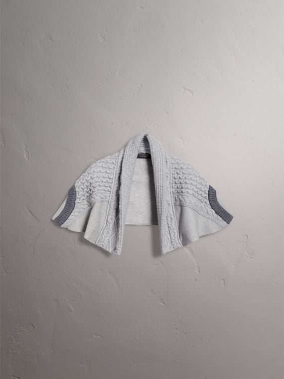 Cable Knit and Brushed-back Jersey Capelet in Grey Melange - Women | Burberry - cell image 3