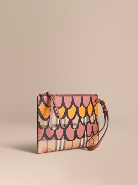Trompe L'oeil Haymarket Check and Leather Pouch