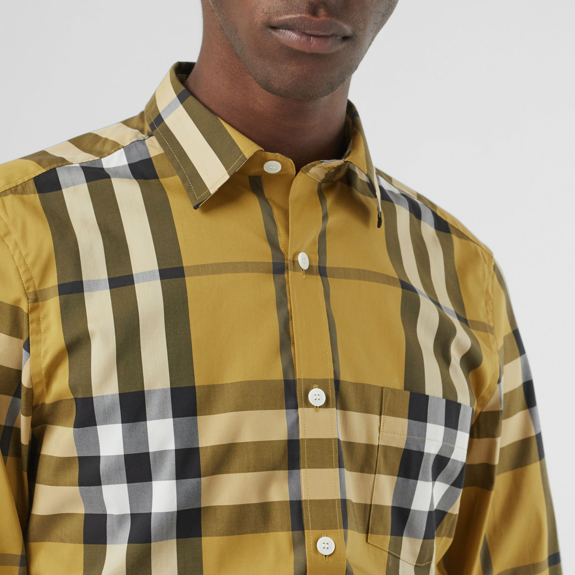 Check Stretch Cotton Shirt in Yellow - Men | Burberry - gallery image 1