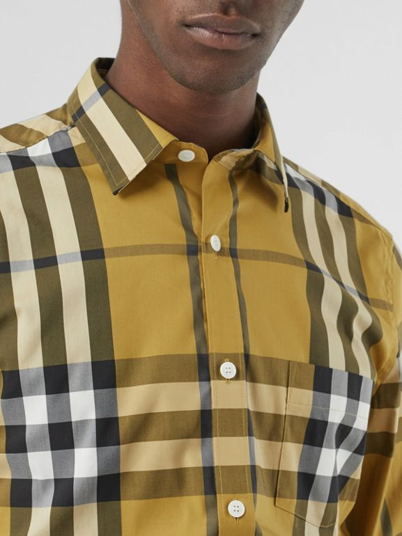 Check Stretch Cotton Shirt in Yellow - Men | Burberry - cell image 1