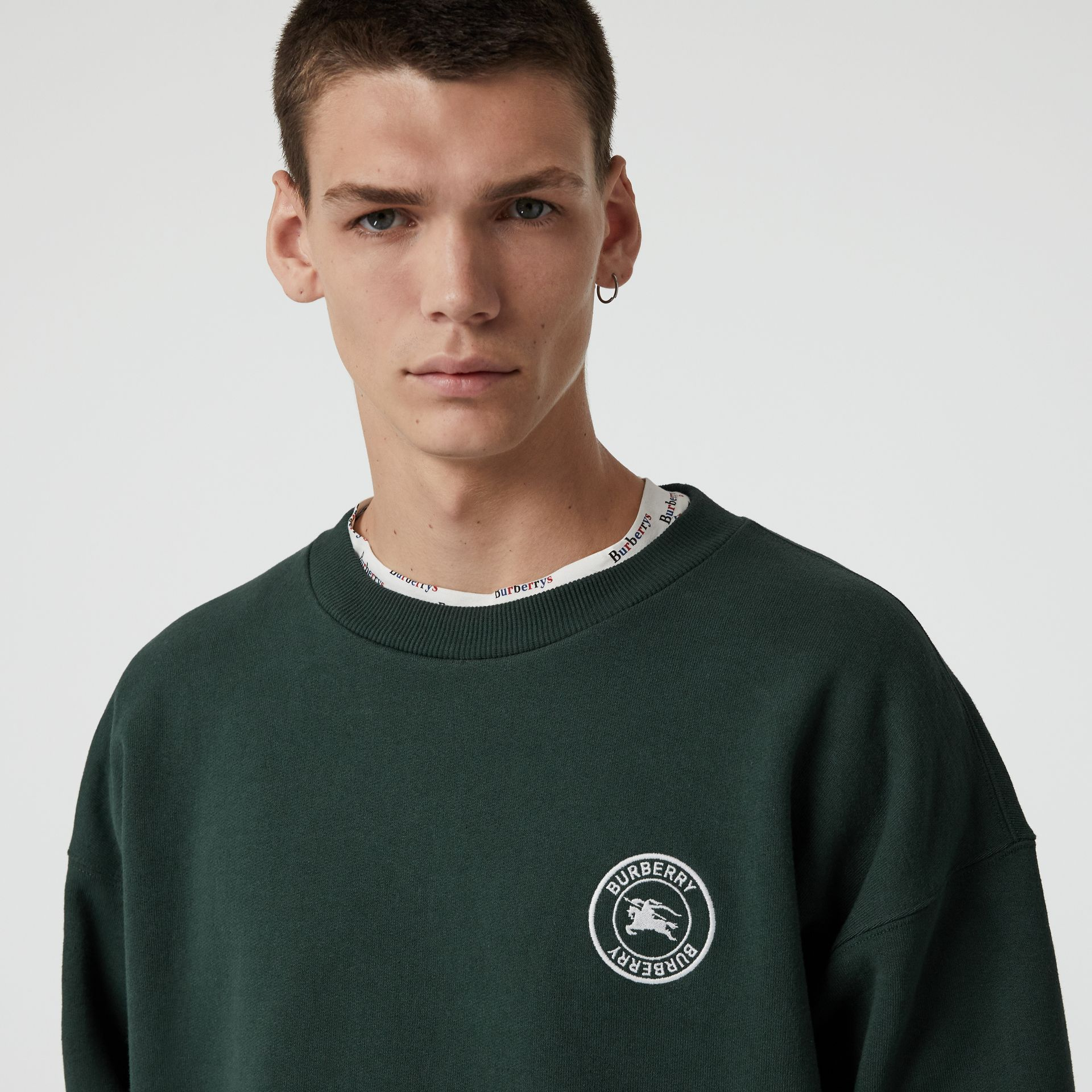 Embroidered Logo Jersey Sweatshirt in Forest Green - Men | Burberry Australia - gallery image 1