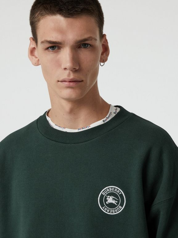Embroidered Logo Jersey Sweatshirt in Forest Green - Men | Burberry Australia - cell image 1