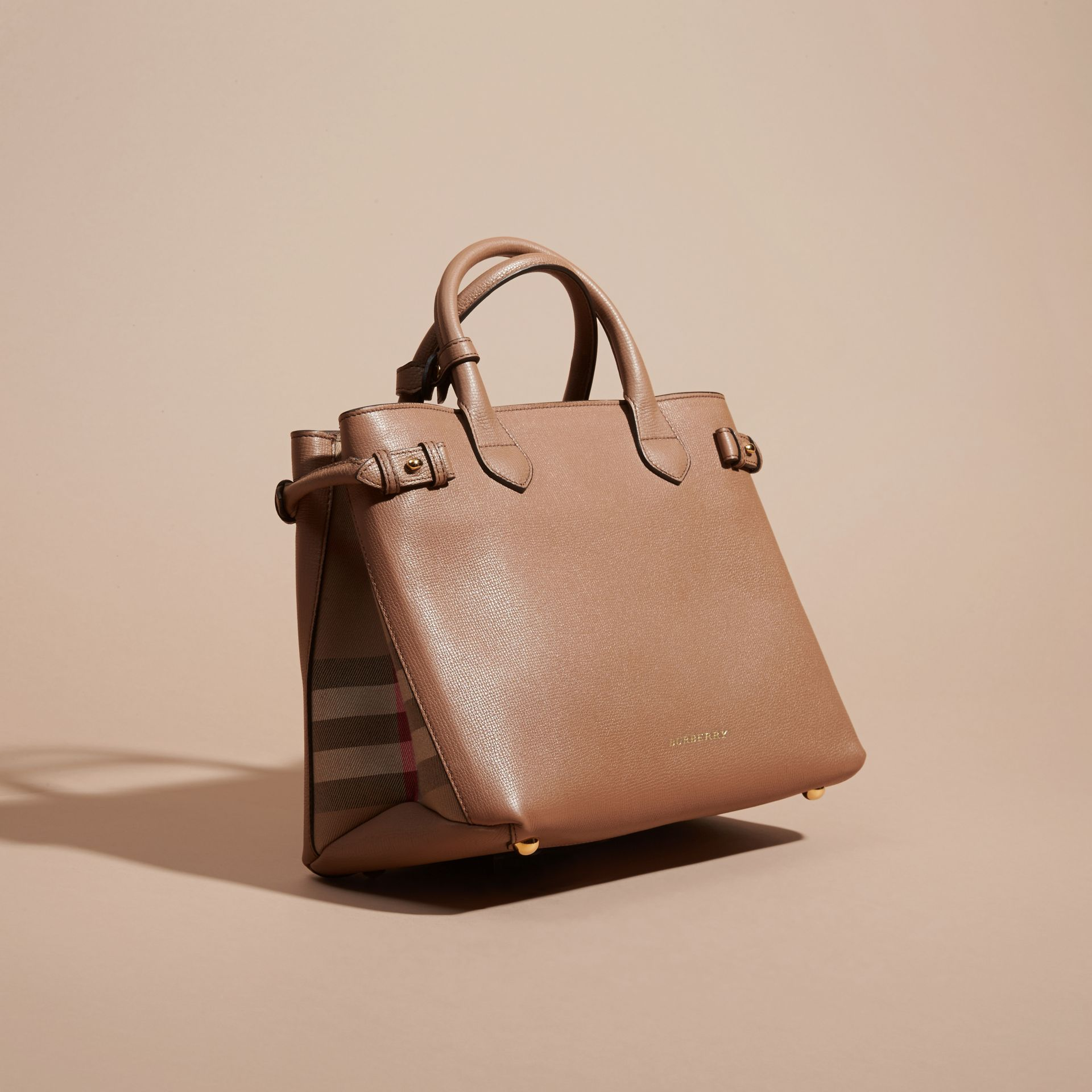 The Medium Banner in Leather and House Check in Dark Sand - Women | Burberry - gallery image 8
