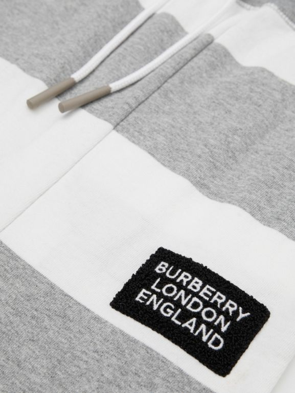 Striped Cotton Trackpants in Grey Melange | Burberry - cell image 1