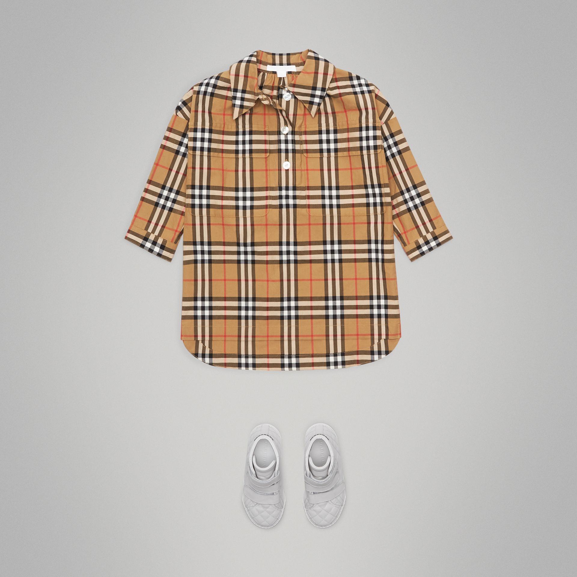 Vintage Check Shirt Dress in Antique Yellow - Girl | Burberry - gallery image 2
