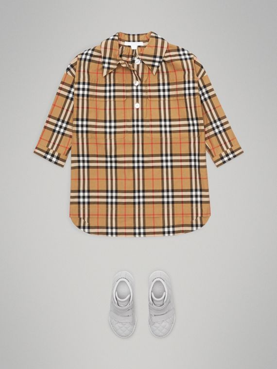 Vintage Check Shirt Dress in Antique Yellow - Girl | Burberry - cell image 2