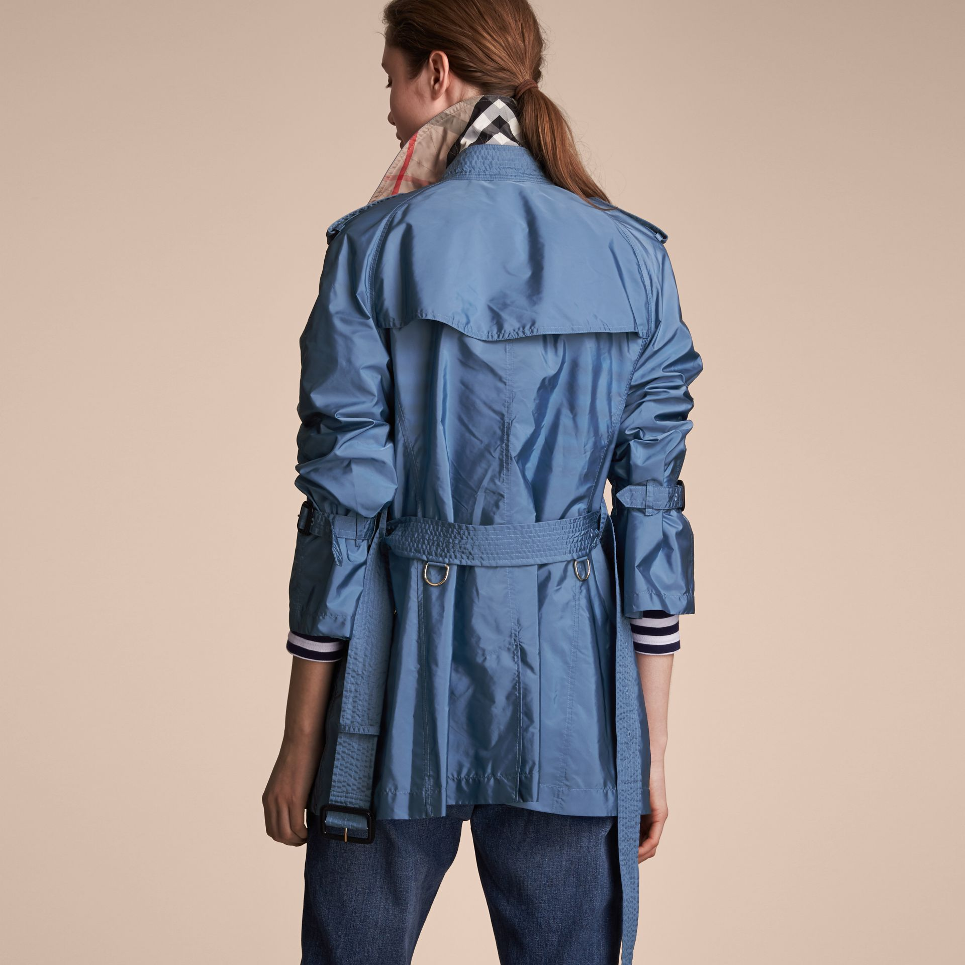 Packaway Ruffle Detail Showerproof Trench Coat in Lupin Blue - Women | Burberry - gallery image 3