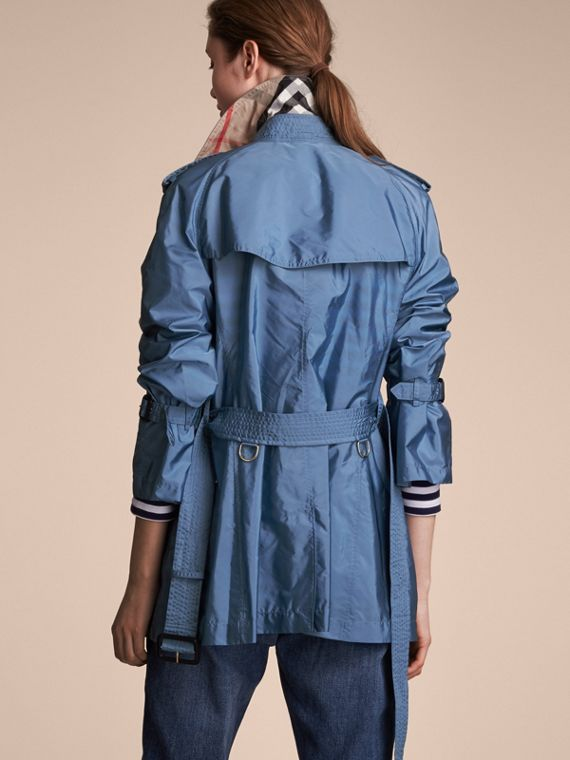 Packaway Ruffle Detail Showerproof Trench Coat in Lupin Blue - Women | Burberry - cell image 2