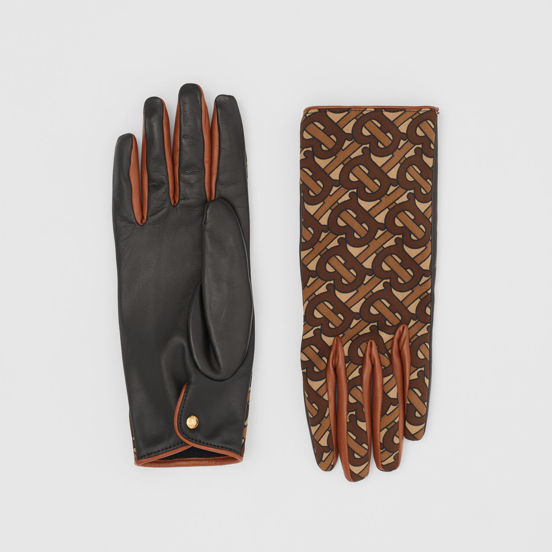 Cashmere-lined Monogram Print Lambskin Gloves in Bridle Brown - Women | Burberry - gallery image 0