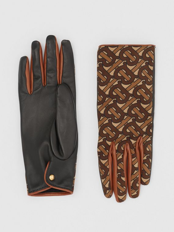 Cashmere-lined Monogram Print Lambskin Gloves in Bridle Brown