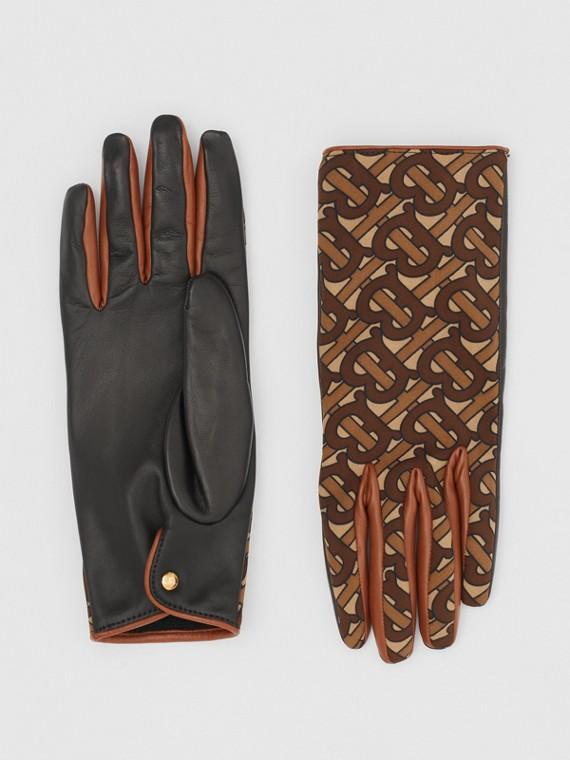 Luvas de couro de cordeiro com estampa de monograma e forro em cashmere (Castanho)