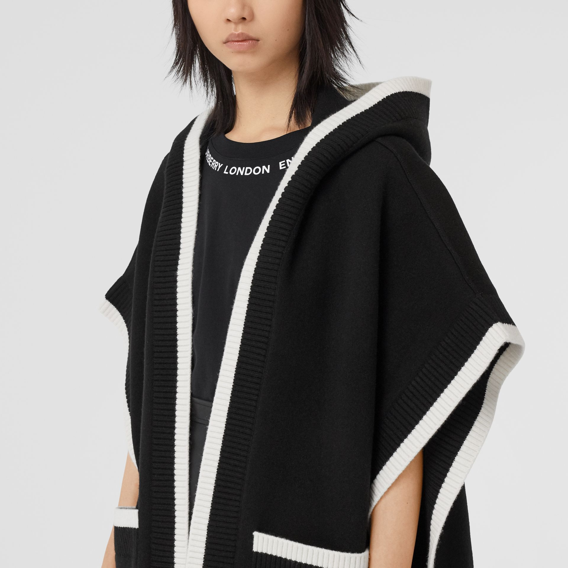 Logo Graphic Wool Cashmere Jacquard Hooded Cape in Black - Women | Burberry United States - gallery image 4